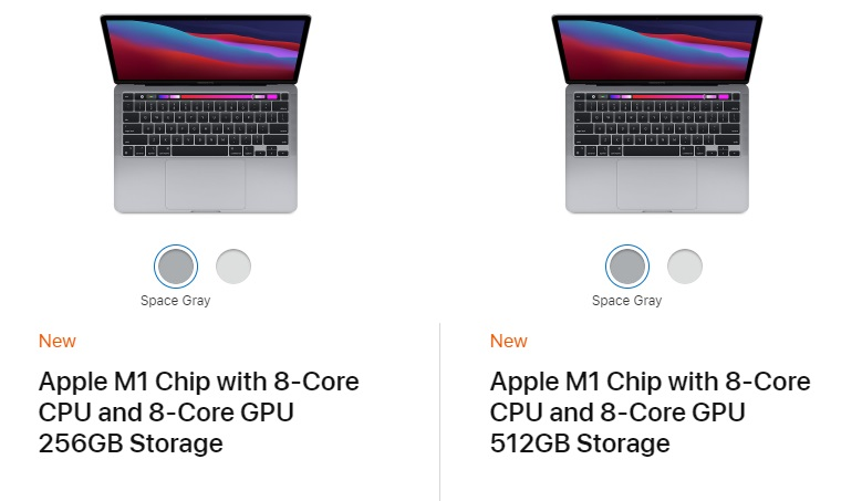 Apple MacBook Pro M1 Chip with 8‑Core CPU, 8-Core GPU and 512 GB Storage.