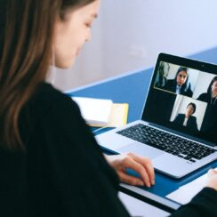 People on a Group Video Call or Video Conference Call