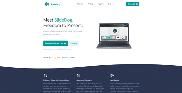 Meet SlideDog. Freedom to Present. Create seamless playlists from your favorite presentation media.