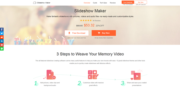 Apeaksoft Slideshow Maker: Make fantastic slideshows with pictures, videos and audio files via ready-made and customizable styles.