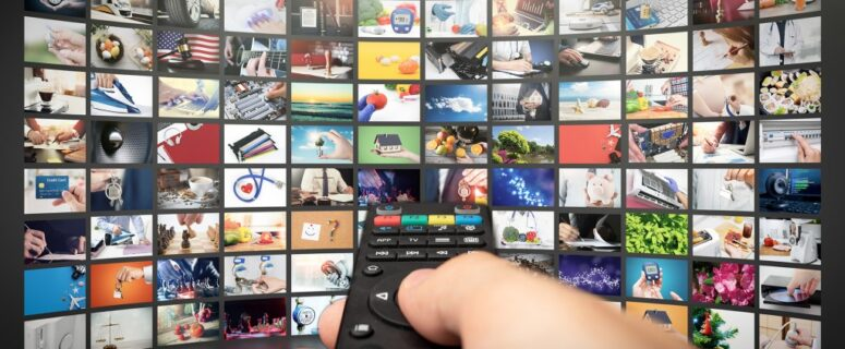 Digital Collage of TV Streaming Screen, Television Streaming