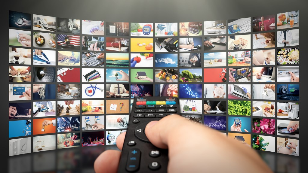Digital Collage of TV Streaming Screen, Television Streaming, Video Service With Internet Streaming Multimedia Shows, Video on Demand Technology