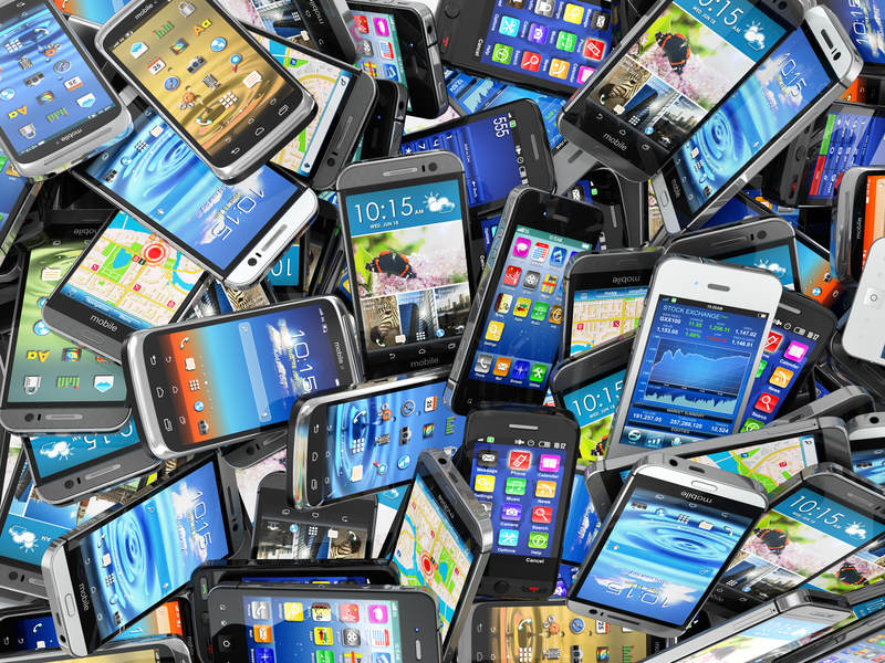 Tons of mobile phones or smartphones.