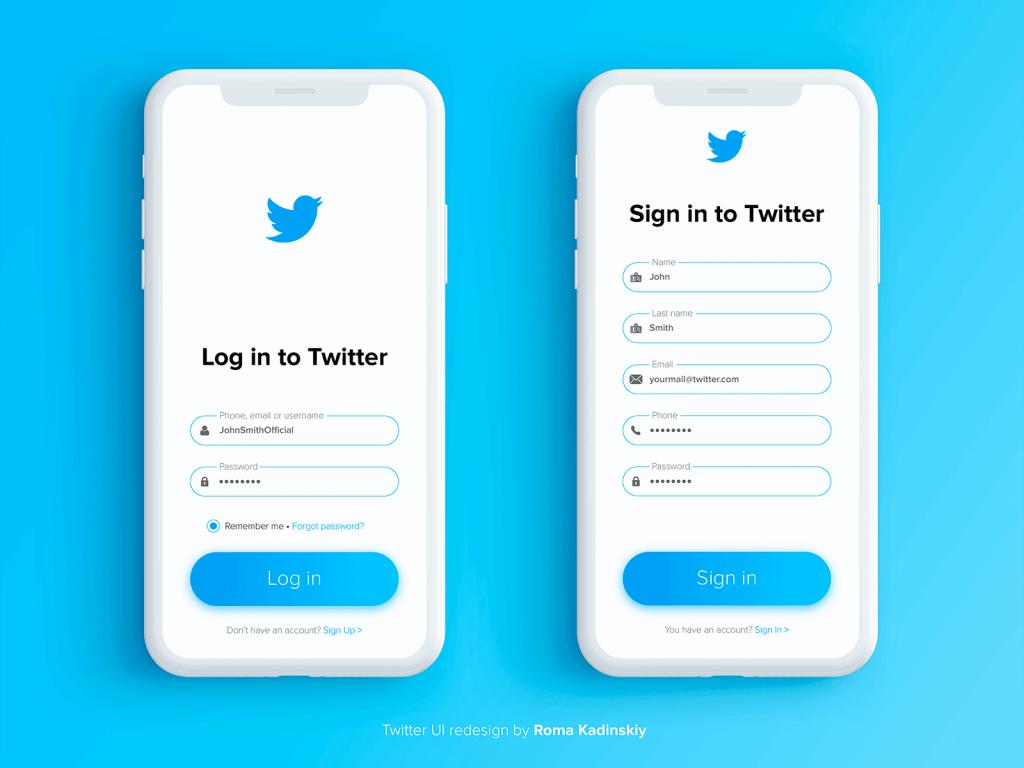 Twitter UI redesign by Roma Kadinskiy