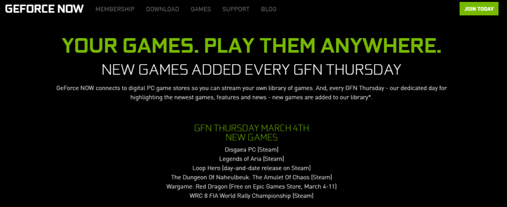 Nvidia GeForce Now cloud gaming service