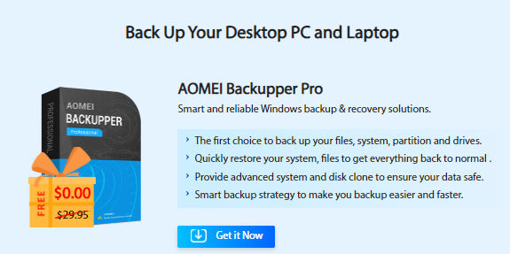 AOMEI Backupper Pro: Smart and reliable Windows backup and restore software. Back Up Your Desktop PC and Laptop.