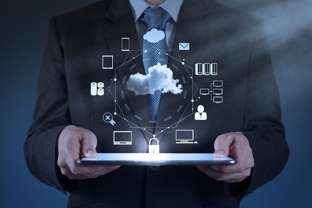 Businessman working with cloud computing, cloud native applications.