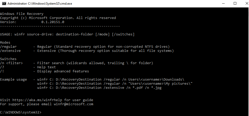 Windows File Recovery winfr command