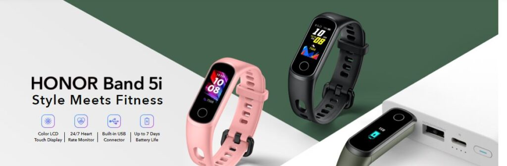 HONOR Band 5i: Style Meets Fitness. Fitness Smartwatch with 24/7 Heart Rate Monitor, Built-in USB Connector, Color LCD Touch Display.