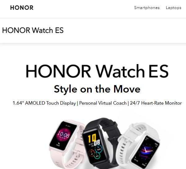 Honor Watch ES with Fitness Tracking Features.