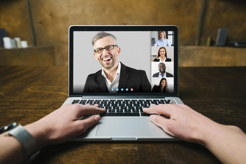 Person Having Business Video Call Indoors