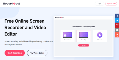 RecordCast - Free Online Screen Recorder and Video Editor. Screen recording and video editing made easy, no download and payment needed.