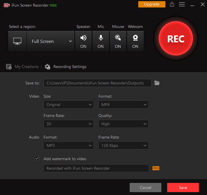 iFun Screen Recorder - Recording Settings - Video Size, Video Format, Video Frame Rate, Video Quality, Audio Format, Audio Frame Rate, Add watermark to video, Save video