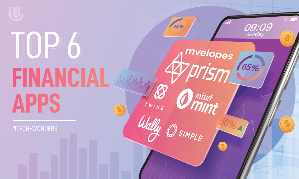 Top 6 Financial Apps: Mint, Wally, Simple, Twine, Prism, Mvelopes.