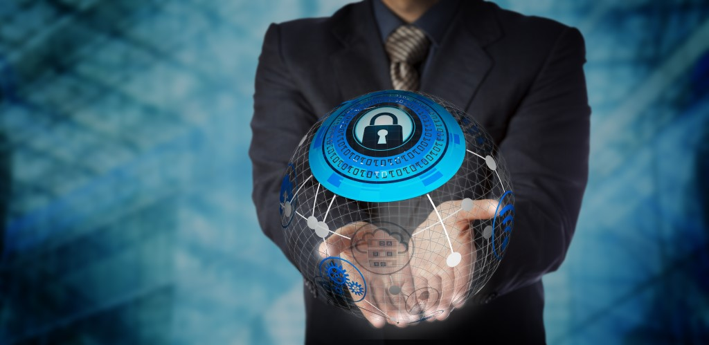 Man Offering Secure Managed Data Storage Services. IT concept for data storage, cloud computing, mobility management, global communications, security technology and computer network.