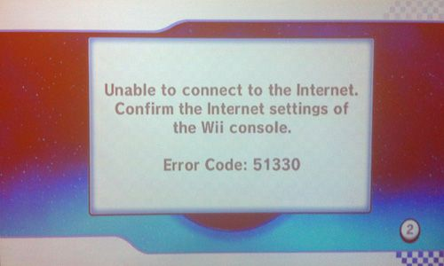 Nintendo Wii Error Code 51330 - Unable to connect to the Internet. Confirm the Internet settings of the Wii console.