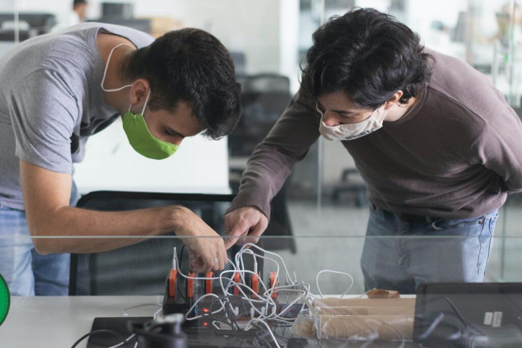 People working on Hardware using Arduino