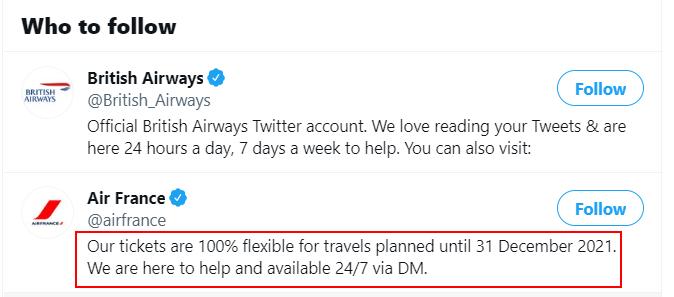 Air France (@airfrance) Twitter bio