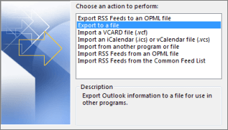 Export Outlook information to a file