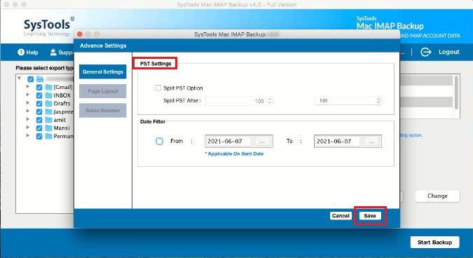 SysTools Mac IMAP Backup - PST Settings