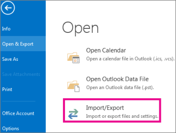 Outlook Import/Export Files