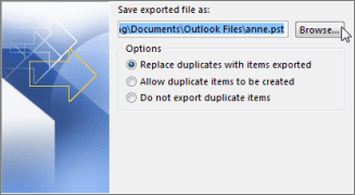 Save exported .pst file