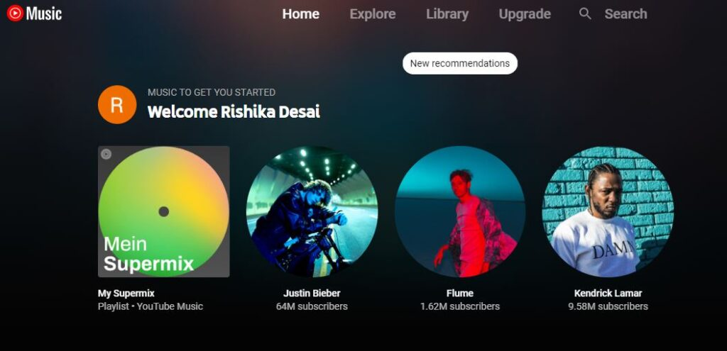 YouTube Music Welcome Rishika Desai