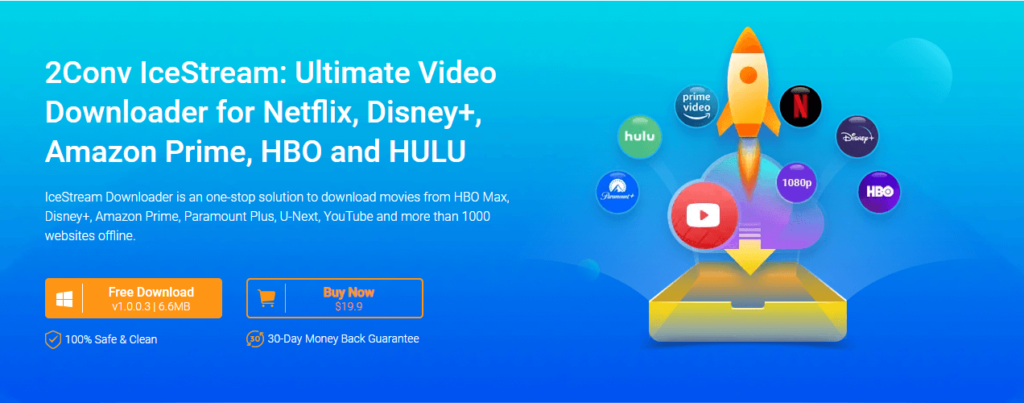 IceStream Downloader is an one-stop solution to download movies from HBO Max, Disney+, Amazon Prime, Paramount Plus, Hulu, U-Next, YouTube and more than 1000 websites offline.
