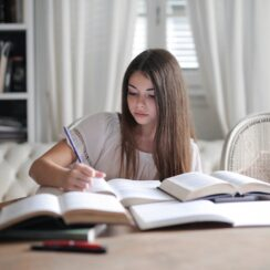Girl Student Studying Learning Writing