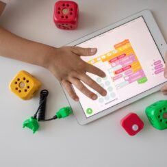 Kid Using a Tablet for Visual Programming