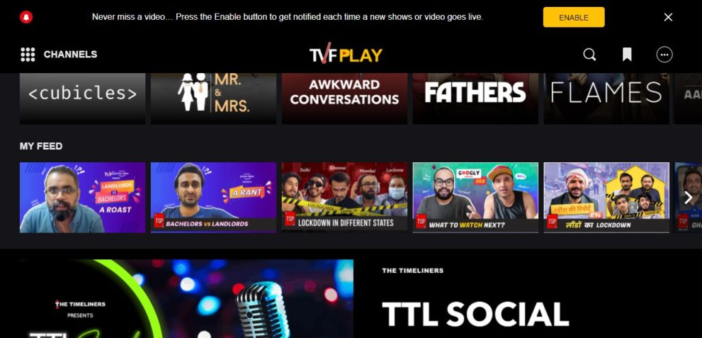 TVFPlay Streaming Platform - Watch entertaining original web series and engaging videos.