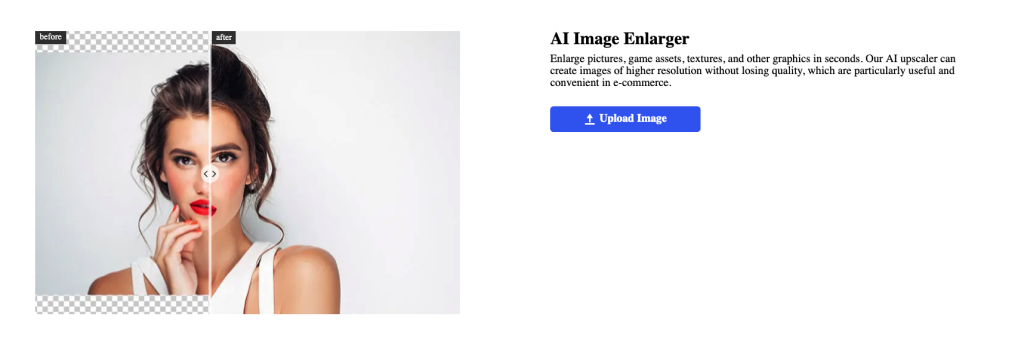 AI Image Enlarger enlarges pictures, game assets, textures, and other graphics in seconds. AI upscaler can create images of higher resolution without losing quality.