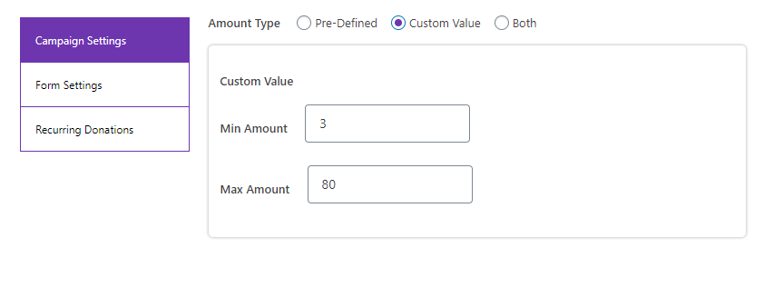 Donation Campaign Settings: Custom Value Min Amount and Max Amount