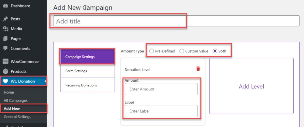 WC Donation: Add New Campaign