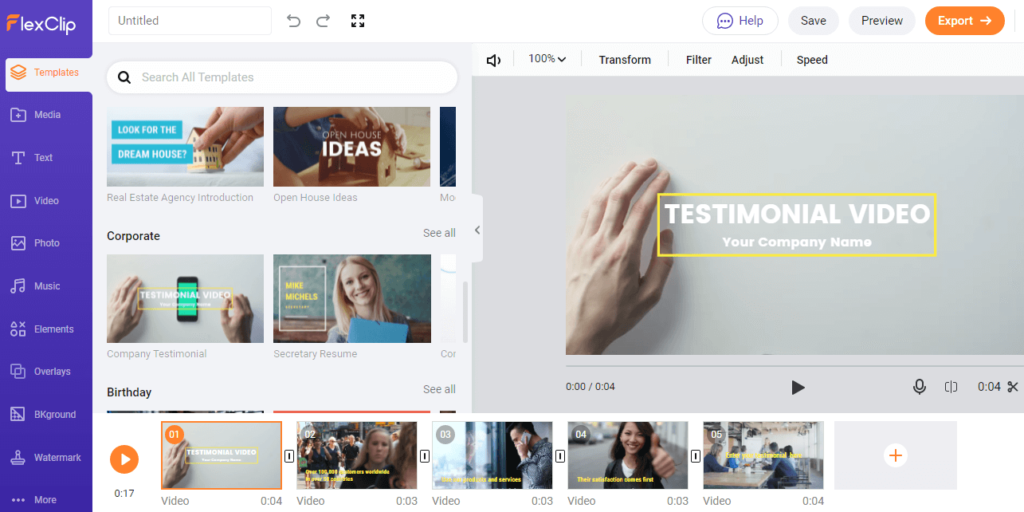 Free Online Video Editor Templates
