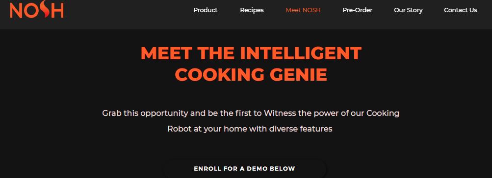 Meet NOSH: The Intelligent Cooking Genie, Cooking Robot.